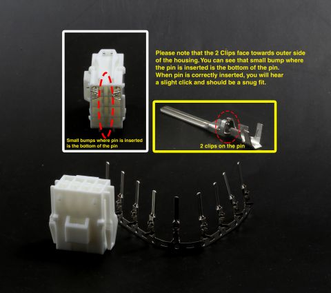 JST YLR-08V Female Housing with Male Pins Vewlix Harness Connector Control Panel