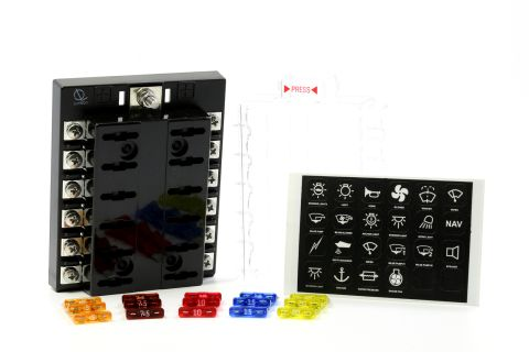 12 Way Screw type Terminal Fuse Block w/ Label Premium Littelfuse Fuses