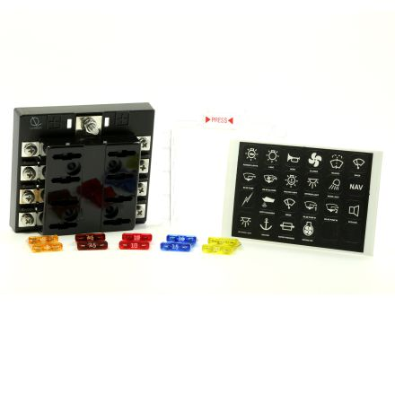 8 Way Screw type Terminal Fuse Block w/ Label Premium Littelfuse Fuses