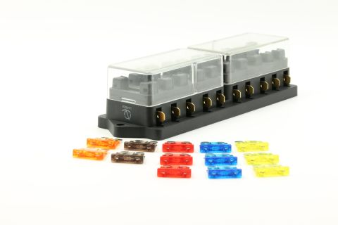 10 Port way Automotive ATO ATC APR Fuse Block Terminal w/ 13 Fuses Set