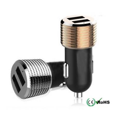 Universal Dual USB 2 Port Car Charger Adaptor for iPhone Samsung HTC Sony LG Gold Color