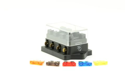 4 Port way Automotive ATO ATC APR Fuse Block Terminal with 5 Fuses Set