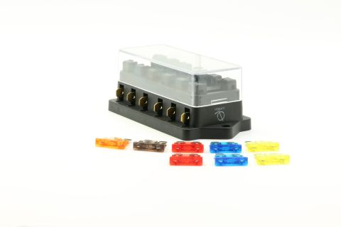 6 Port way Automotive ATO ATC APR Fuse Block Terminal with 8 Fuses Set