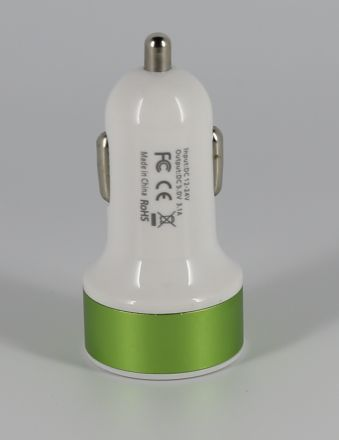 Universal Dual USB 2 Port Car Charger Adaptor for iPhone Samsung HTC Sony LG White / Green